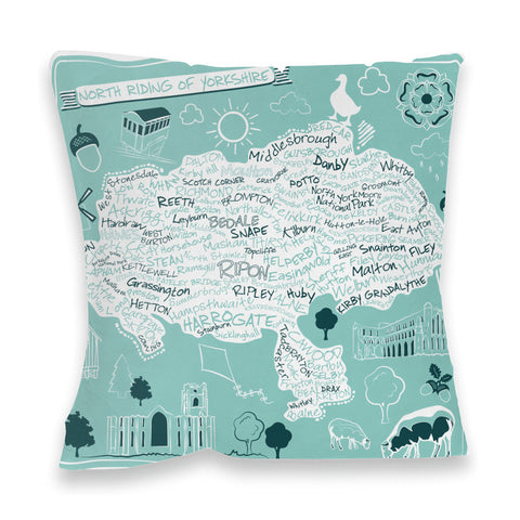 Map of the North Riding of Yorkshire, Fibre Filled Cushion