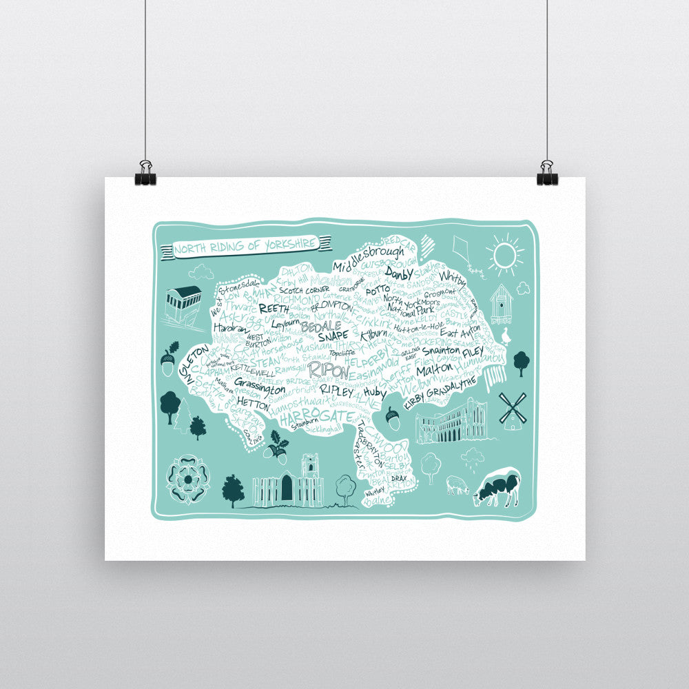 Map of the North Riding of Yorkshire, 90x120cm Fine Art Print