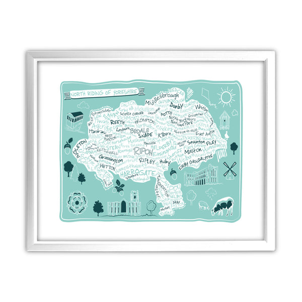 Map of the North Riding of Yorkshire, 11x14 Framed Print (White)
