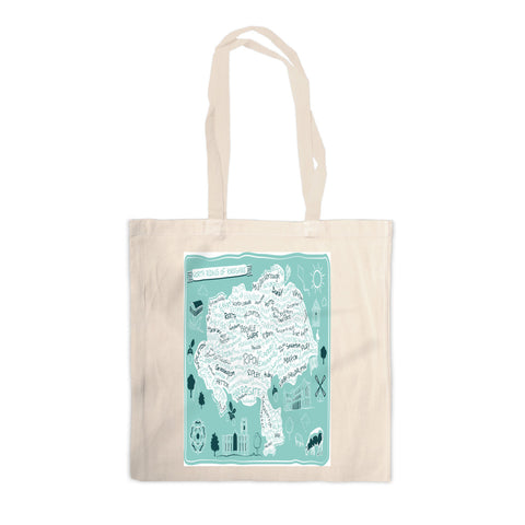 Map of the North Riding of Yorkshire, Canvas Tote Bag