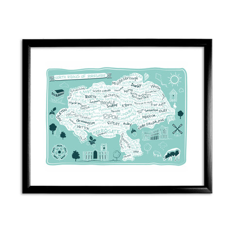 Map of the North Riding of Yorkshire, 11x14 Framed Print (Black)