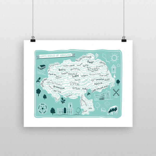 Map of the North Riding of Yorkshire, 11x14 Print