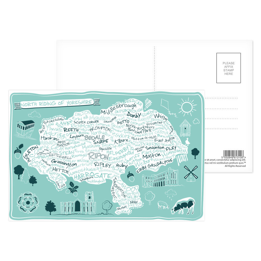Map of the North Riding of Yorkshire, Postcard Pack