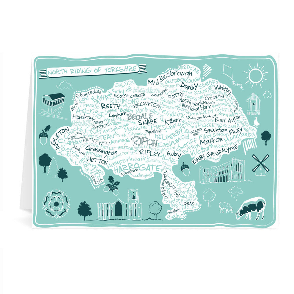 Map of the North Riding of Yorkshire, Greeting Card 7x5