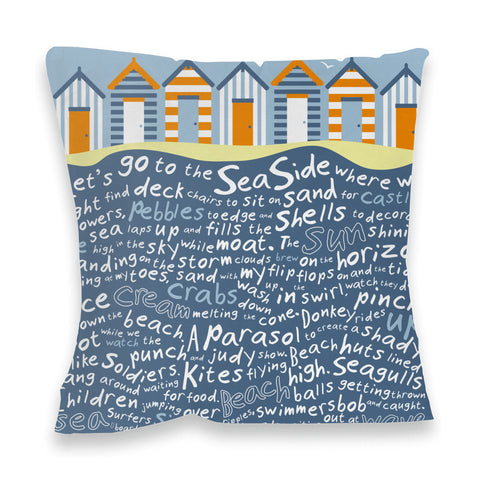 Beach Huts, Fibre Filled Cushion