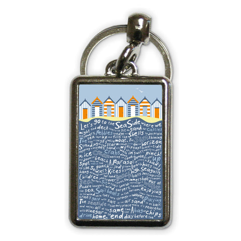 Beach Huts, Metal Keyring