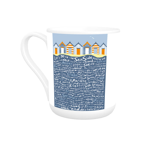 Beach Huts, Bone China Mug