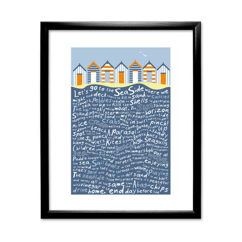 Beach Huts, 11x14 Framed Print (Black)