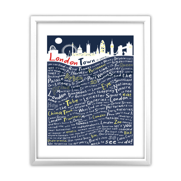 London Town, 11x14 Framed Print (White)