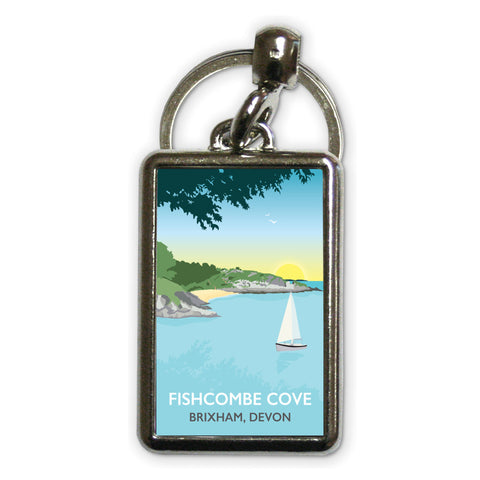 Fishcombe Cove, Brixham Metal Keyring