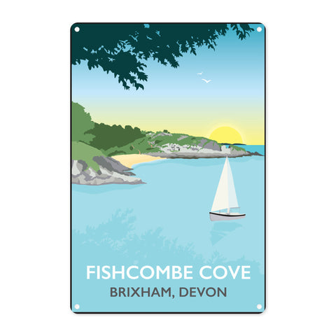 Fishcombe Cove, Brixham Metal Sign