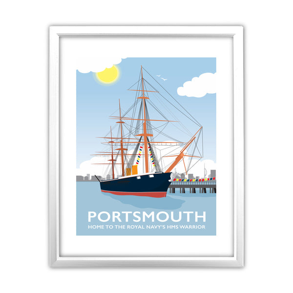 HMS Warrior, Portsmouth 11x14 Framed Print (White)