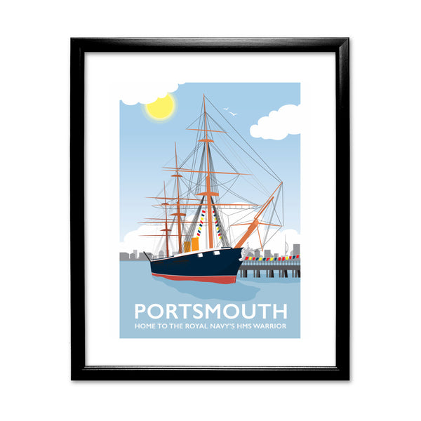 HMS Warrior, Portsmouth 11x14 Framed Print (Black)