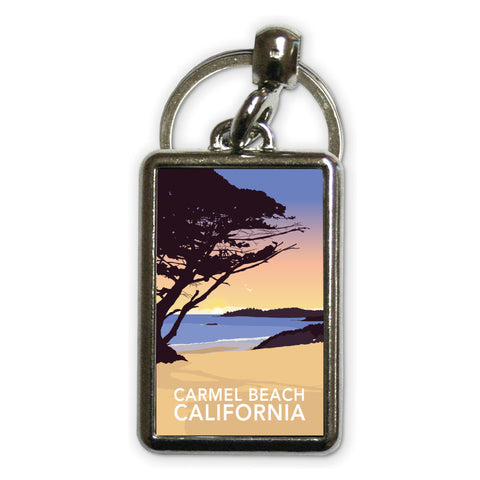 Carmel Beach, California Metal Keyring