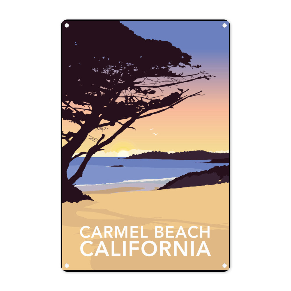 Carmel Beach, California Metal Sign