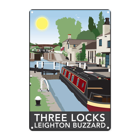 Three Locks, Leighton Buzzard Metal Sign
