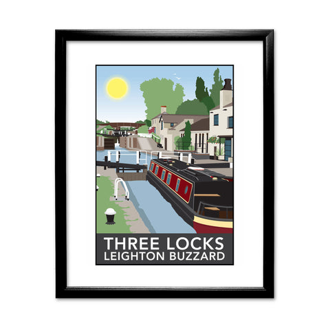 Three Locks, Leighton Buzzard 11x14 Framed Print (Black)