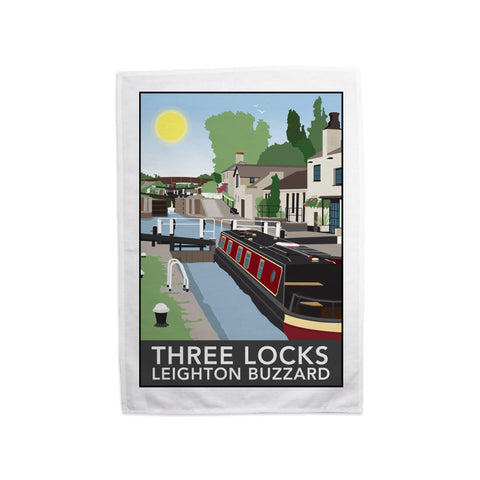 Three Locks, Leighton Buzzard Tea Towel