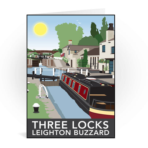 Three Locks, Leighton Buzzard Greeting Card 7x5