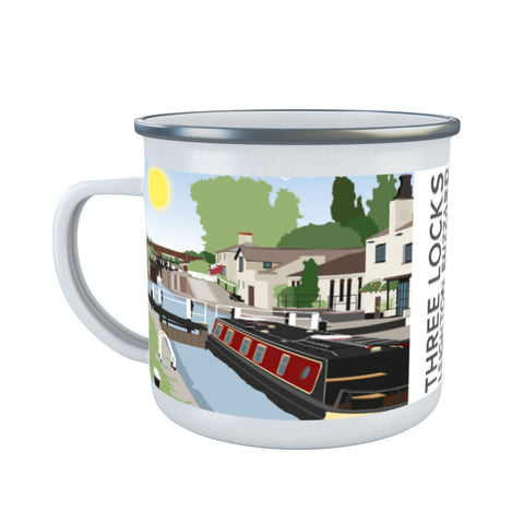 Three Locks, Leighton Buzzard Enamel Mug