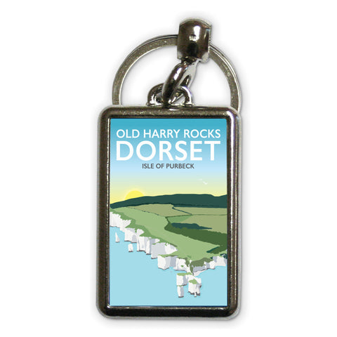 Old Harry Rocks, Dorset Metal Keyring