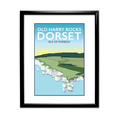 Old Harry Rocks, Dorset 11x14 Framed Print (Black)