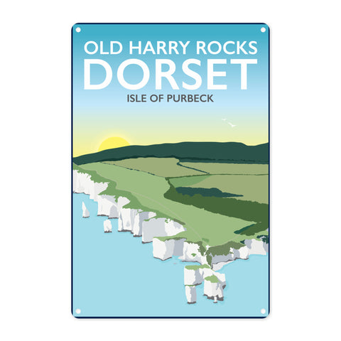 Old Harry Rocks, Dorset Metal Sign