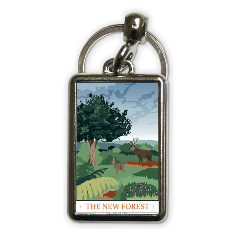 The New Forest, Hampshire Metal Keyring
