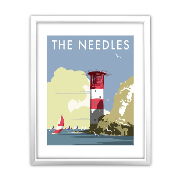 The Needles, Isle of Wight 11x14 Framed Print (White)
