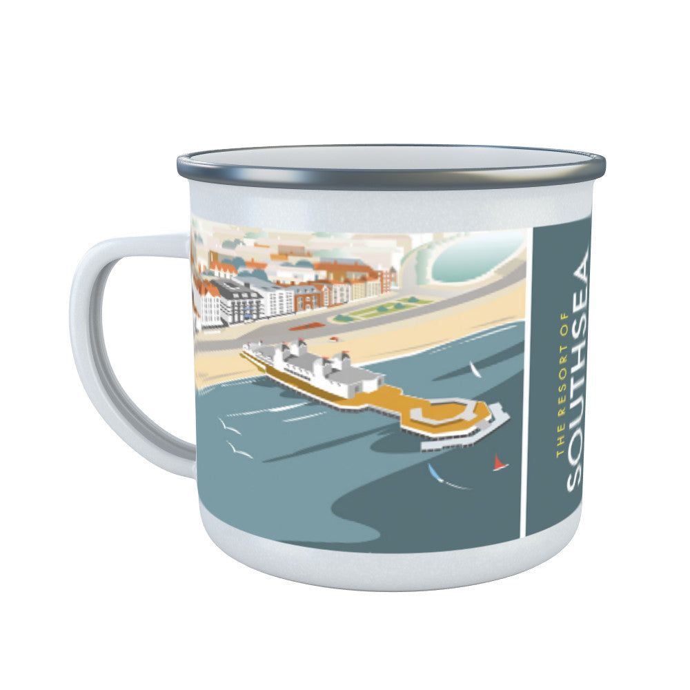 Southsea, Portsmouth, from the air Enamel Mug