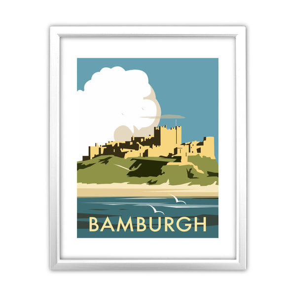 Bamburgh Castle 11x14 Framed Print (White)