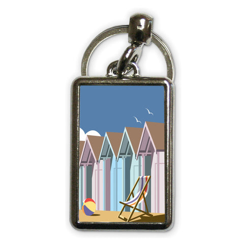 Beach Huts Metal Keyring
