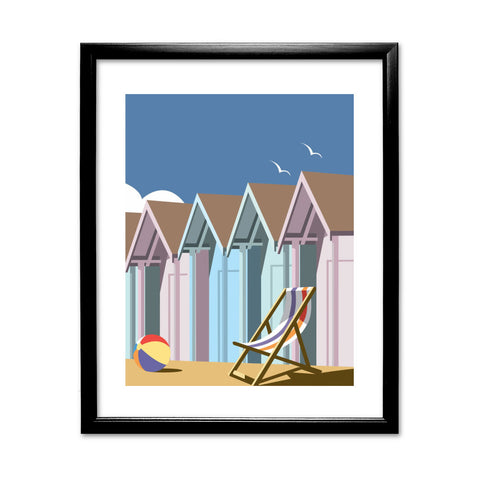 Beach Huts 11x14 Framed Print (Black)