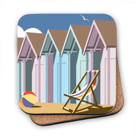 Beach Huts MDF Coaster
