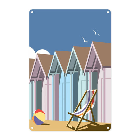 Beach Huts Metal Sign
