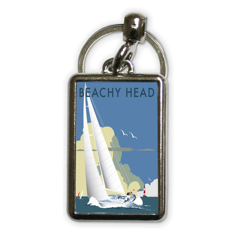 Sailing at Beachy Head Metal Keyring