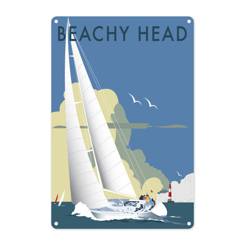 Sailing at Beachy Head Metal Sign