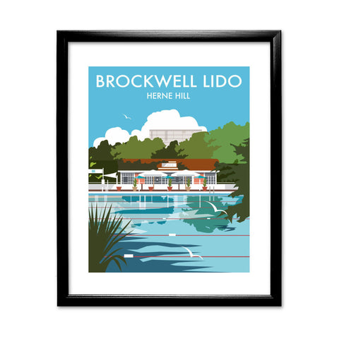 Brockwell Lido, Herne Hill, London 11x14 Framed Print (Black)