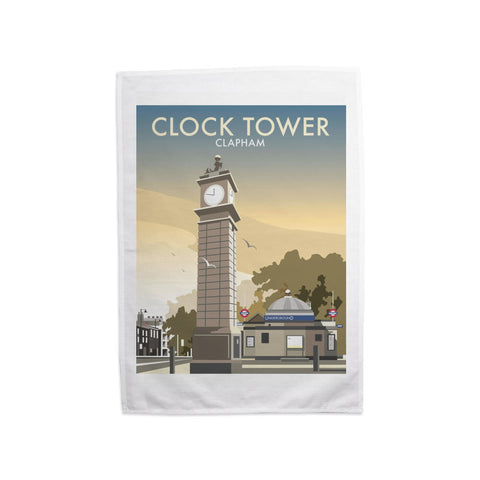 The Clock Tower, Clapham, London Tea Towel
