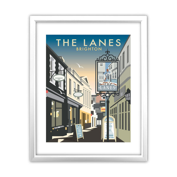 The Lanes, Brighton 11x14 Framed Print (White)