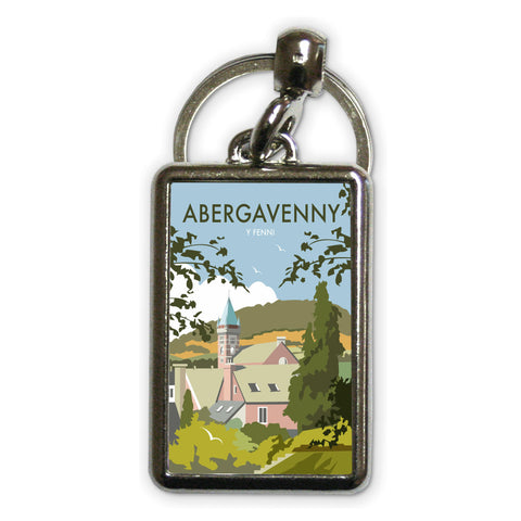 Abergavenny, South Wales Metal Keyring