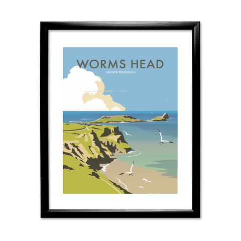 Worms Head, Gower Peninsula 11x14 Framed Print (Black)