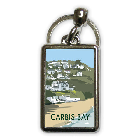 Carbis Bay, Cornwall Metal Keyring