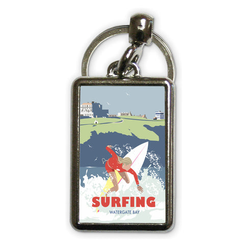 Watergate Bay, Cornwall Metal Keyring