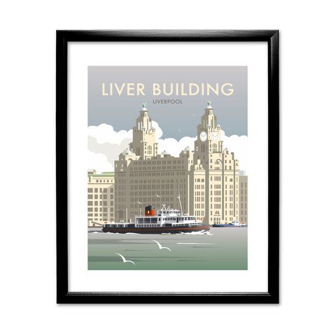 Liver Building, Liverpool 11x14 Framed Print (Black)