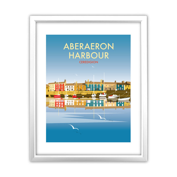 Aberaeron Harbour 11x14 Framed Print (White)