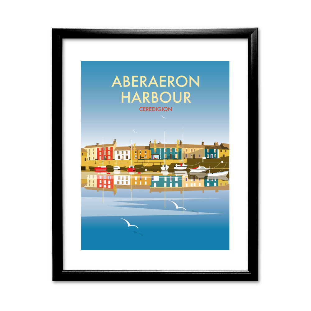 Aberaeron Harbour 11x14 Framed Print (Black)