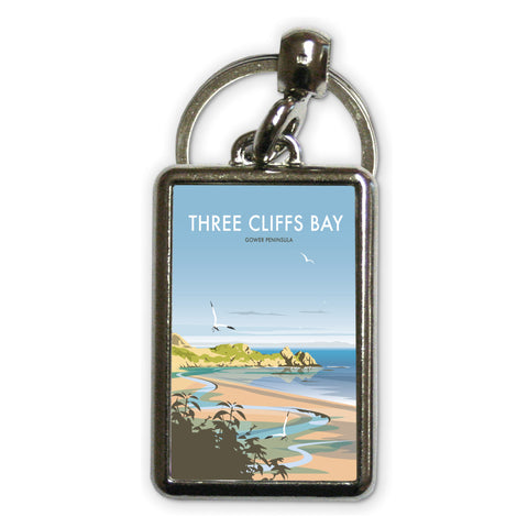 Three Cliffs Bay, Wales Metal Keyring