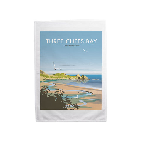 Three Cliffs Bay, Wales Tea Towel