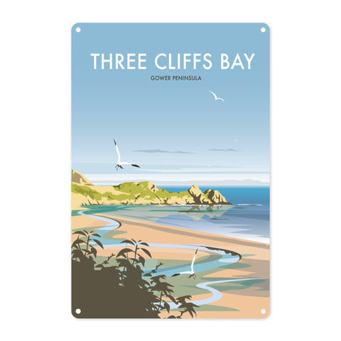 Three Cliffs Bay, Wales Metal Sign